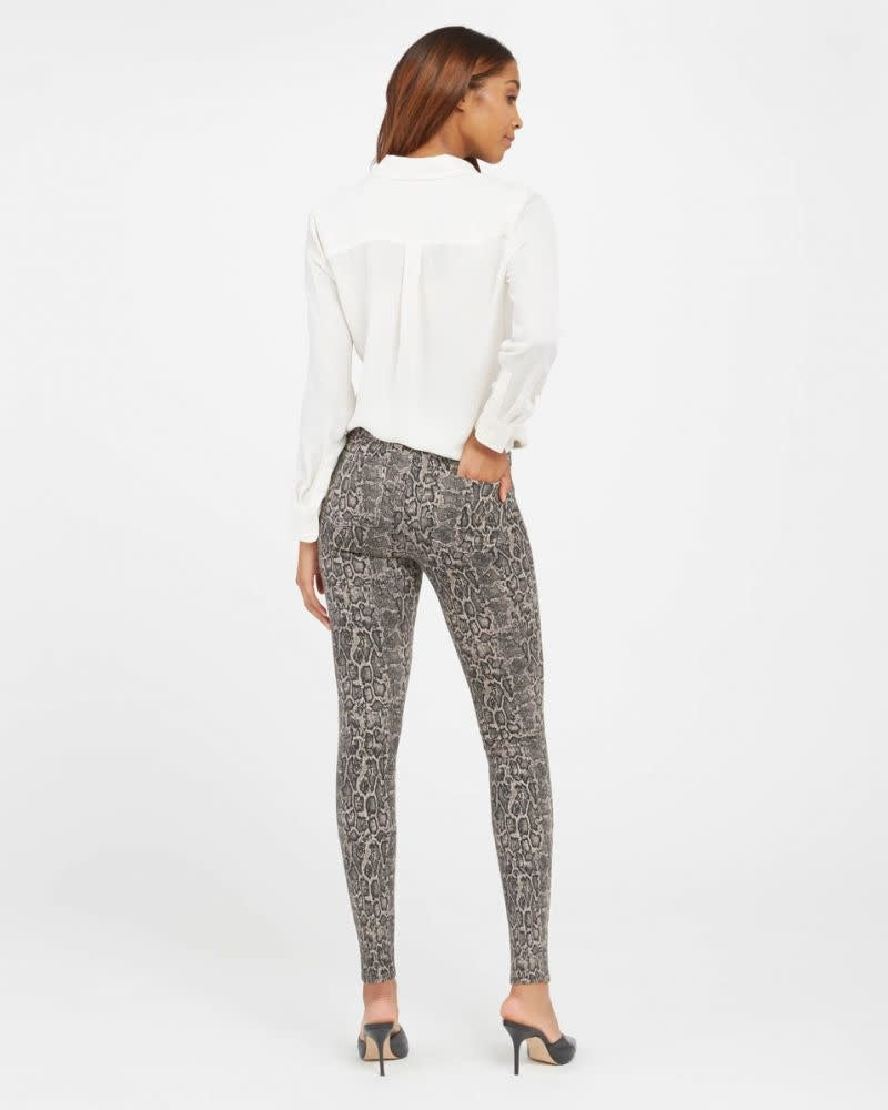 Spanx Jean-ish Ankle Leggings Taupe Snakeskin