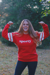 "Red ""Sporty"" Sweatshirt"