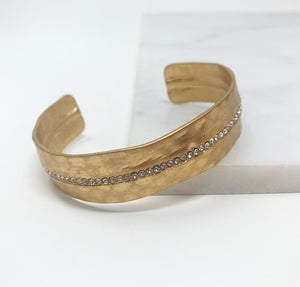 Matte Gold Bangle W/Line of Crystals