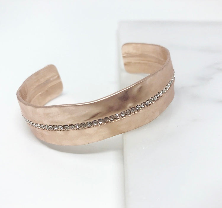 Matte Rose Gold Bangle W/Line of Crystals