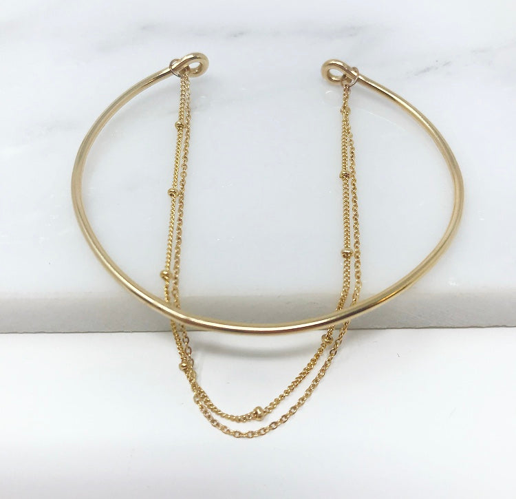 14kt Gold Filled Layla Bar and Double Chain Bracelet