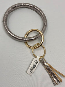 Genuine Leather Silver Key Ring with Tassel