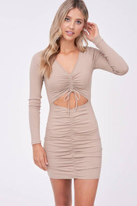 Long Sleeve Ruched Mini Dress with Cut-Out in Tan