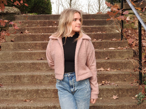 Teddy Cropped Jacket in Mauve