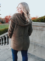 Load image into Gallery viewer, Hooded Cocoon Faux-Fur Jacket in Olive