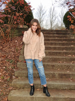 Load image into Gallery viewer, Spiral Twist Cable Pullover Sweater in Taupe