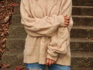 Spiral Twist Cable Pullover Sweater in Taupe