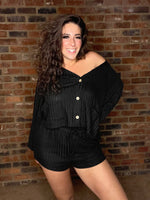 Load image into Gallery viewer, Ribbed Cardigan and Shorts Lounge Set