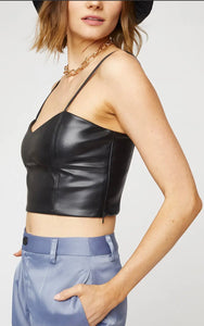 Cropped Leather Top in Black