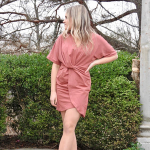 Knit Wrap Mini Dress in Brick