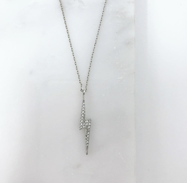 CZ White Gold Dipped Lightning Bolt Necklace