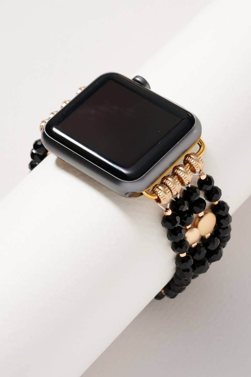 Glass Bead Multi Layered iWatch Band in Black