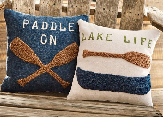 Lake Life Raised Hooked Pillow