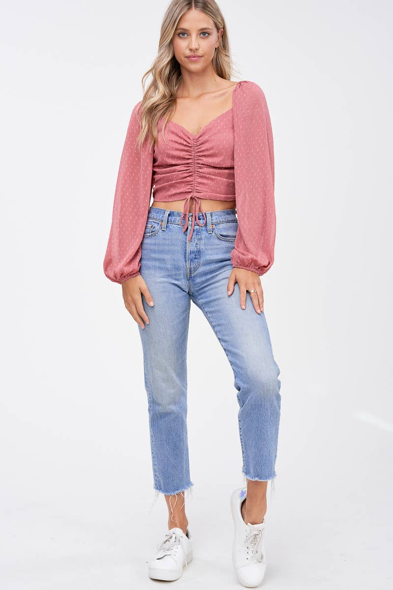 Ruched Crop Top with Swiss Dot Sleeves in Mauve
