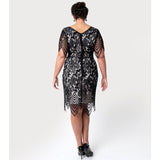 Unique Vintage Linette lace 1920s cocktail dress - black