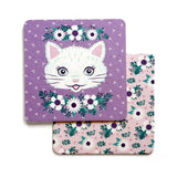 Kitty Cat Face floral pulp board coasters - set of 4 by Smarty Pants Paper Co.