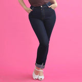 CLEARANCE - Classic vintage style high waist retro stretch denim jeans by Lady K Loves - indigo
