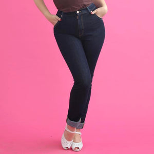 Classic vintage style high waist retro stretch denim jeans by Lady K Loves - indigo