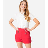 CLEARANCE - Unique Vintage Debbie 1940s style high waist sailor shorts - red