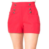 Unique Vintage Debbie 1940s style high waist sailor shorts - red
