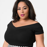 CLEARANCE - Unique Vintage Deena cap sleeve top - black