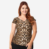 CLEARANCE - Unique Vintage Deena cap sleeve top - leopard print