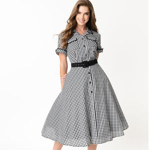 I Love Lucy x Unique Vintage Ethel gingham shirtwaist swing dress - black/white