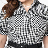 CLEARANCE - I Love Lucy x Unique Vintage Ethel gingham shirtwaist swing dress - black/white