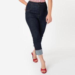 CLEARANCE - I Love Lucy x Unique Vintage Little Ricky retro high waist cropped denim jeans with cuffs