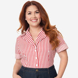 CLEARANCE - I Love Lucy x Unique Vintage Little Ricky button front top - red/white stripe