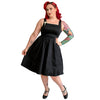 CLEARANCE - Vivacious Vixen Matilda cocktail dress with champagne brooch - black