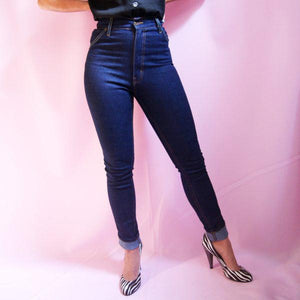 Polly petite high waist retro denim jeans by Lady K Loves - indigo