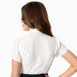 Smak Parlour Power Play blouse with removable necktie - white