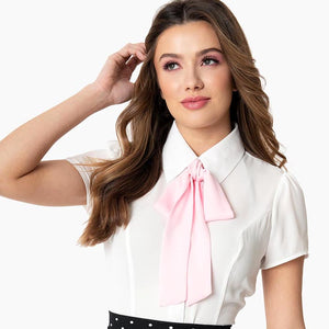 CLEARANCE - Smak Parlour Power Play blouse with removable necktie - white