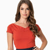 Unique Vintage Deena cap sleeve top - paprika