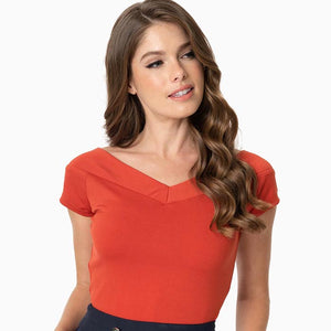 CLEARANCE - Unique Vintage Deena cap sleeve top - paprika