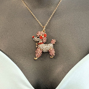 CLEARANCE - Poodle rhinestone pendant necklace by My Vintage Look