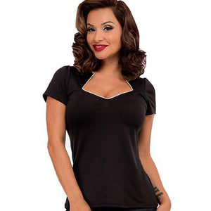 Sophia top - black with white piping