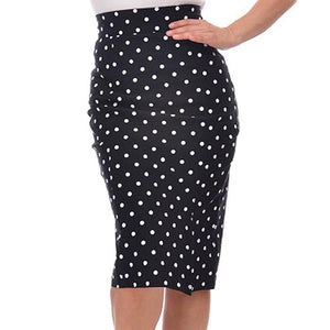 polka dot pencil skirt - black/white