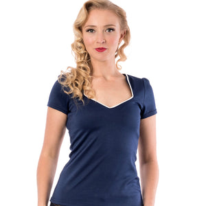 Sophia top - navy with white piping