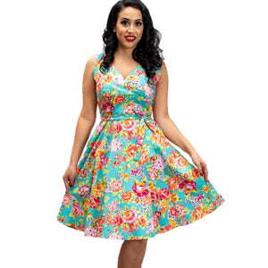 Marie dress - Paisley Rose - aqua