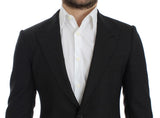 Gray wool slim fit blazer