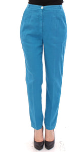 Blue Cotton Logo Thin Casual Pants