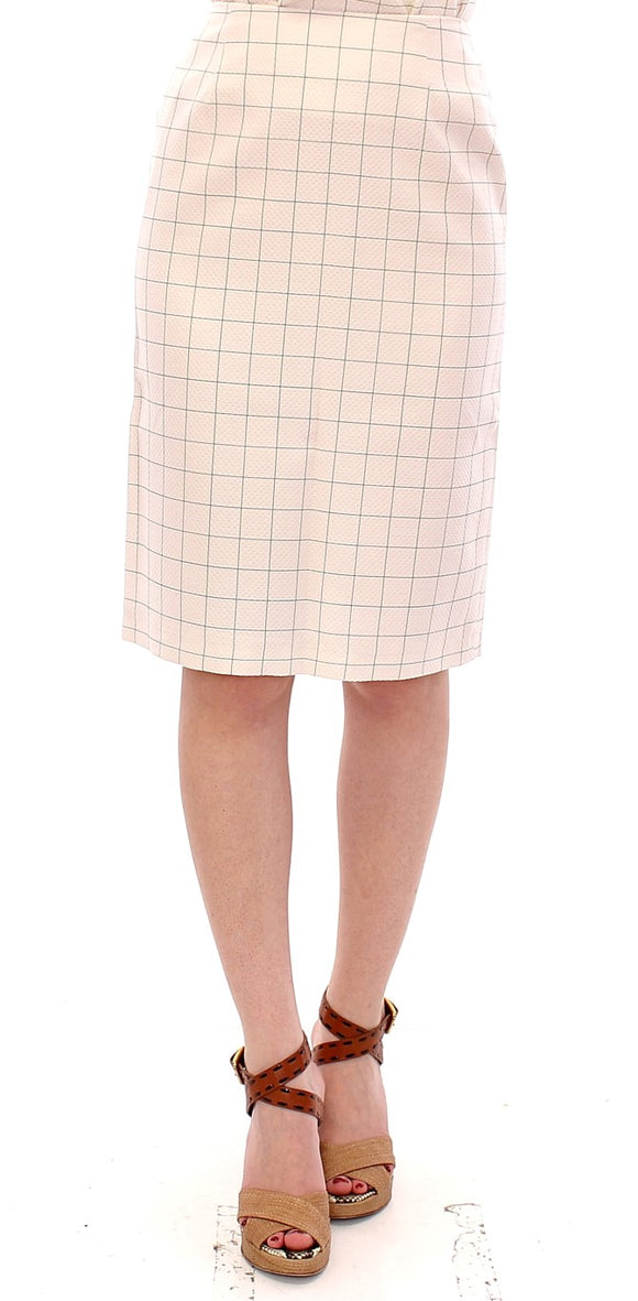 White Cotton Checkered Pencil Skirt