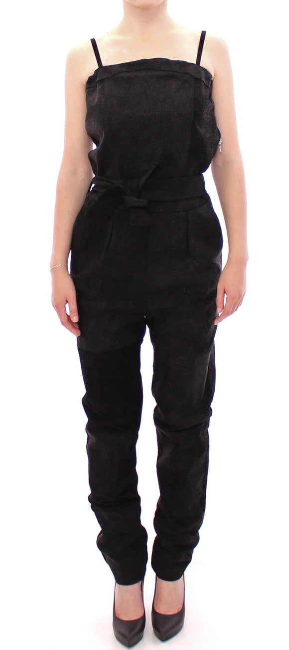 Black Leather Strap Jumpsuit