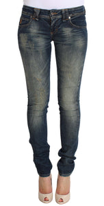 Blue Wash Skinny Low Cotton Stretch Denim Jeans