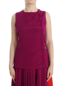 Purple Silk Sleeveless Blouse Top