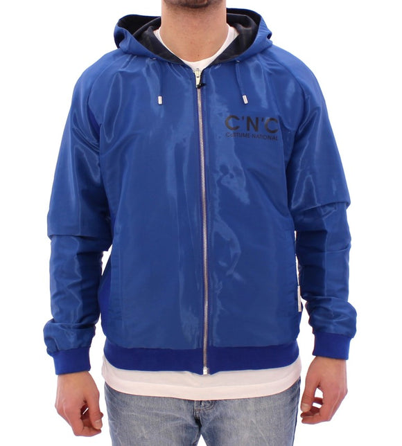 Blue hooded reversible jacket