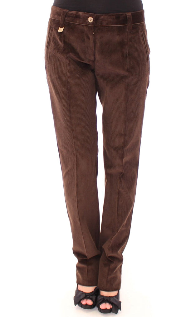 Brown Corduroys Straight Logo Casual Pants