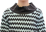 Blue Black Nappa Leather Top Sweater